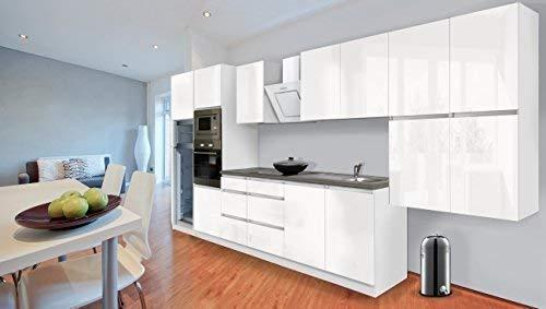 Respekta Keukenblok, premium handgreep, keuken, 435 cm, wit hoogglans, incl. softclose/koel-vriescombinatie, 144 cm & keramische kookplaat