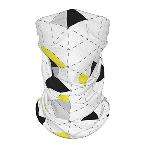 Sombrero Al Aire Libre De Seda Diadema Decoración Geométrica Triángulos Abstractos Diamante Motivos En Mosaico Puzzle Estilo Ilustración Amarillo Negro Reutilizable Cuello Polaina Cara Bufanda