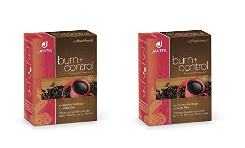 Javita Burn + Control Garcinia Cambogia and Yerba Mate, Gourmet Instant Coffee for Weight Loss 2 Boxes