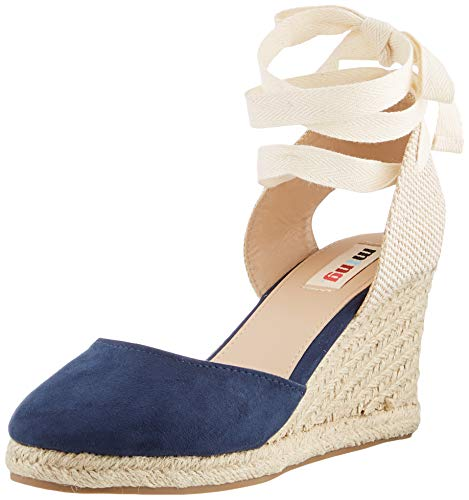 MTNG Collection 58935, Sandalias con Plataforma para Mujer, Azul (Join Marino/Canvas Beige/Lace Marino C49432), 39 EU