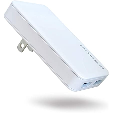 ROAD WARRIOR USB 自動判別 急速 充電器 2ポート 15.5W (最大出力 5V / 3.1A) [ iPhone/iPad/Android その他USB-C機器対応 ] 折畳式プラグ 急速充電器 ホワイト 白 RW126WH 電源タップ 変換プラグ 変換アダプター 急速充電