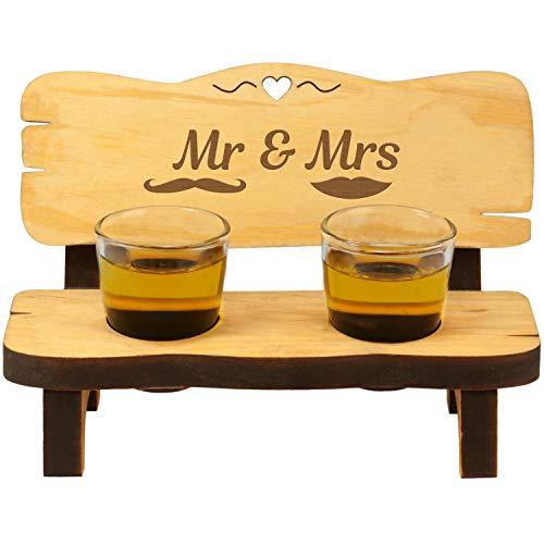 Schnapsbank mit Schnapsgläsern Mr & Mrs ausgefallenes Hochzeitsgeschenk für Brautpaar - Geschenk zur Hochzeit
