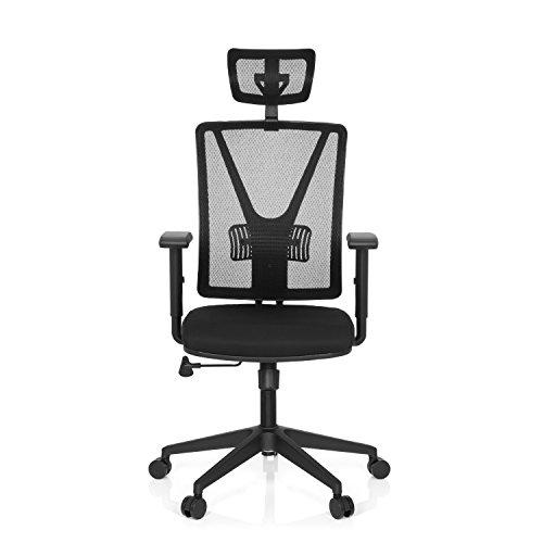 hjh OFFICE 731405 Büro-Schreibtisch-Stuhl Carlow PRO Netz Stoff, Schwarz, Kopfstütze, Lordosenstütze, Ergonomisch Höhen-Verstellbar