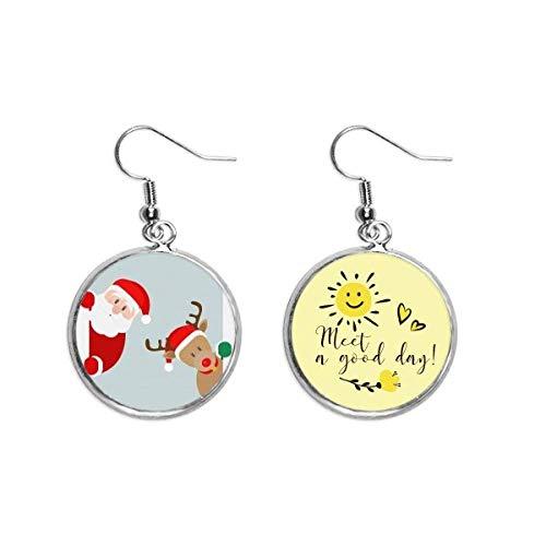 Mas Santa Claus Elk Peep Ear Drop Sun Flower Pendiente Joyería Moda