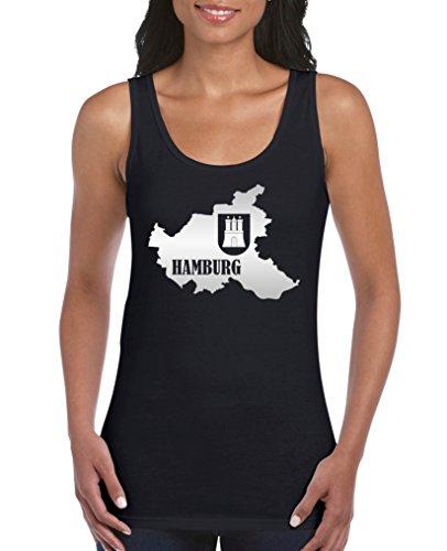 Comedy Shirts - Hamburg Landkarte mit Wappen - Damen Tank Top - Schwarz/Silber Gr. XXL
