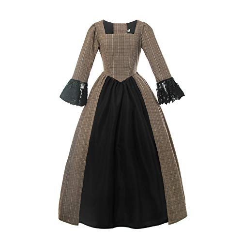 Womens Pioneer Colonial Dress American Civil War Lace Sleeves Plaid Prairie Costume Brown XL