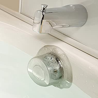 SlipX Solutions Bottomless Bath Overflow Drain Cover Adds Inches of Water to Tub for Warmer, Deeper Bath (Clear, 4  Diameter)