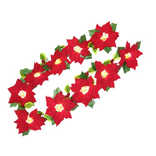 Amosfun LED Artificial Poinsettia Garland Lighted Christmas Poinsettia Flower Garland Christmas Tree Decoration for Christmas Party Decorations (2m No Battery)