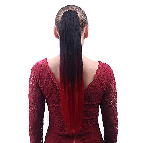 HAIRCARE Ponytail Hair Extension Synthetic Hairpiece,Clip Synthétique Doux Droit Coloré dans La Perruque De Griffe pour La Partie-c