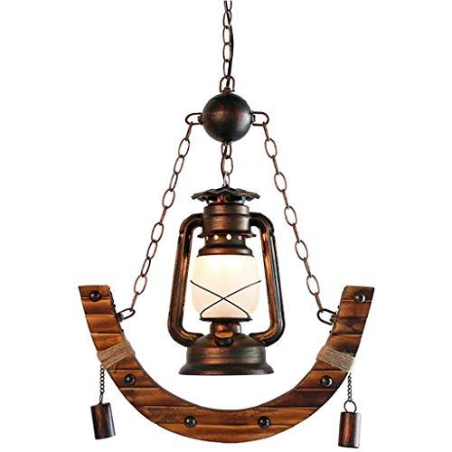 FFLJT Araña -Retro Lámpara colgante Lámpara colgante Madera Metal Negro Altura ajustable bulbo del techo de la sala Industrial lámpara colgante lámpara de araña de la vendimia