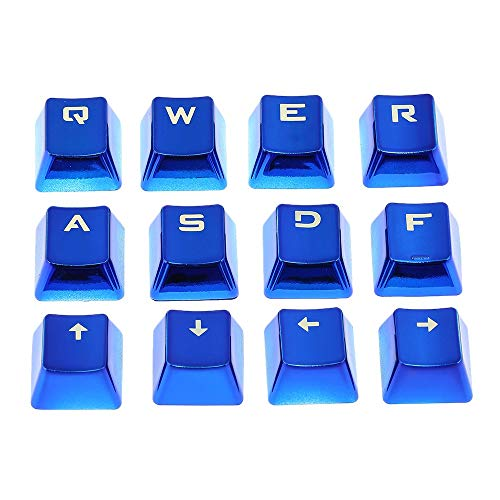 PKA PBT - Tapa para llave de doble disparo (12 unidades, retroiluminada), color metálico con extractor de llaves para teclados mecánicos, color azul