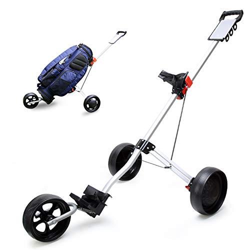 AMAIRS Golf Push Cart, Push-Pull Golftasche Wagen Mit 3 Rädern Leichte Obere Und Untere Halterung Elastischer Gurt Fußbremse Anzeigetafel Golfplatzausrüstung