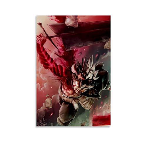 DRAGON VINES Anime Trébol Negro Asta Lucha Lienzo Pintura Moderna Decoración de Pared para Oficina Enmarcado 60x90cm