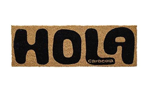 Dream Hogar Felpudo Fibra Coco Natural Hola caracola 75x25 cm (Negro)
