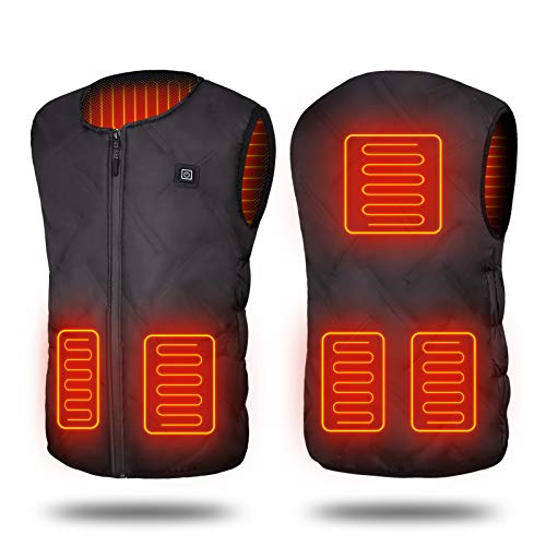 Electric Heated Vest, USB Warm Jacket Gilet for Men Women, 3 Adjustable Temperature, 5 Heating Zones, Washable Lightweight Heated Body Warmer for Winter Outdoor Motorcycle Skiing Fishing Hiking