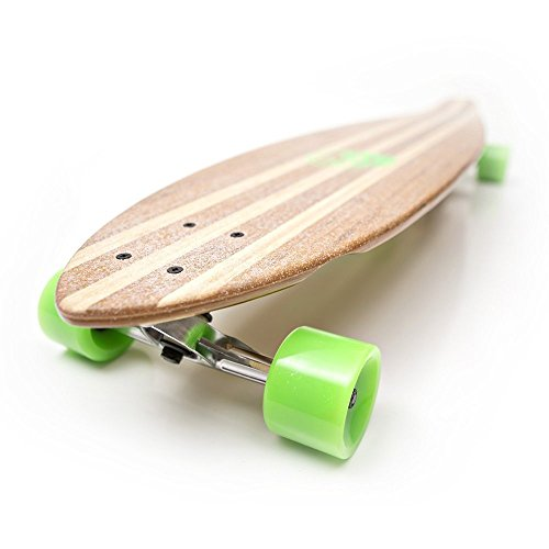White Wave Bamboo Longboard Skateboard Complete (Pintail)