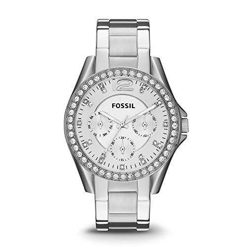 Fossil Women's Riley Quartz Stainless Steel Multifunction Watch, Color: Silver Glitz (Model: ES3202)