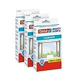 tesa Insect Stop Malla - Mosquitera STANDARD para ventanas en paquete de 3, autoadhesiva, recortable al tamaño deseado, 130 cm x 150 cm, color blanco