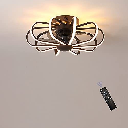 Ventilador de techo,ventilador techo con luz,con Mando a distancia, lamparas ventilador de techo modernos aspas plegables, Reversibles,Silencioso,3 Velocidades,Temporizador,60cm,160W