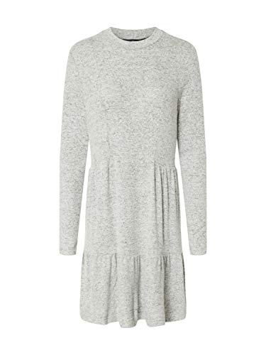 VERO MODA Damen VMDORTHE LS HIGH Neck Short Dress JRS Lässiges Kleid, Light Grey Melange, S