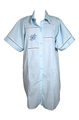 Batist Nachthemd 2002D Gr 36/38 hellblau; nachtwäsche produziert in deutschland batist-nachthemd omannachthemd krankenhemd blau kurzes nachthemd damen mama-nachthemd kurzes nachthemd krankenhemd damen