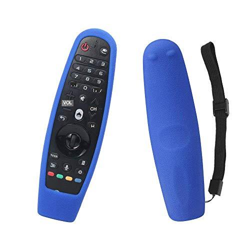 Funda de Control Remoto Funda de Control Remoto a Prueba de Golpes de Silicona Protectora Antideslizante con asa para LG Smart TV AN-MR600 AN-MR650 (Azul)