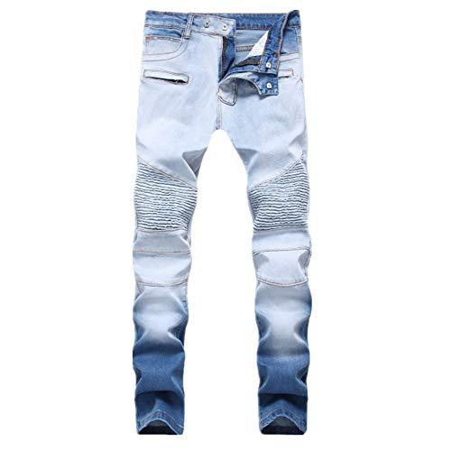N\P Retro Jeans Pantalones de mezclilla ajustados con cremallera para hombre