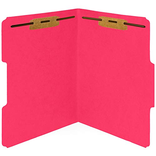 50 Red Fastener File Folders - 1/3 Cut Reinforced Tab - Durable 2 Prongs Bonded Fastener Designed to Organize Standard Medical Files, Law Client Files, Office Reports - Letter Size, Red, 50 Pack
