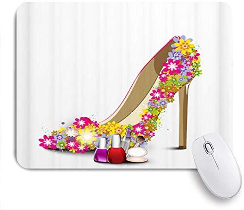 Dekoratives Gaming-Mauspad,Mädchen 'Flower High Heels Kosmetik von Nagellack Lippenstift Pulver Kuchen Mode Romantik,Bürocomputer-Mausmatte mit rutschfester Gummibasis