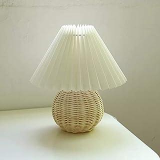 QIANGQSM Vintage Rattan Lamp Table Korean Retro Table Lamps for Bedroom Lamp Living Room Lights...