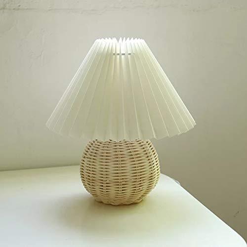 FCS Tischlampe Vintage Rattan Lampe Tisch Korean Retro Tischlampen for Schlafzimmer Lampen Wohnzimmer Leuchten Home Deco Schreibtischlampe Kreative Plissee-Lampe (Lampshade Color : Rattan and beige)