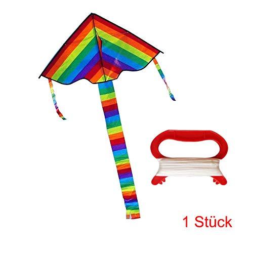 LIANA IRWIN 1/2/5 Stück Kinder-Regenbogen Drachen,Flugdrachen mit 30m Kite line, 95 * 190 cm