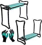 Ossian Garden Kneeler - Portable Quick Folding Versatile 3-in-1 Outdoor Home Lawn Patio Comfortable Soft Foam Kneeling Pad and Bench Seat Chair Stool with Claw Gardening Gloves Included