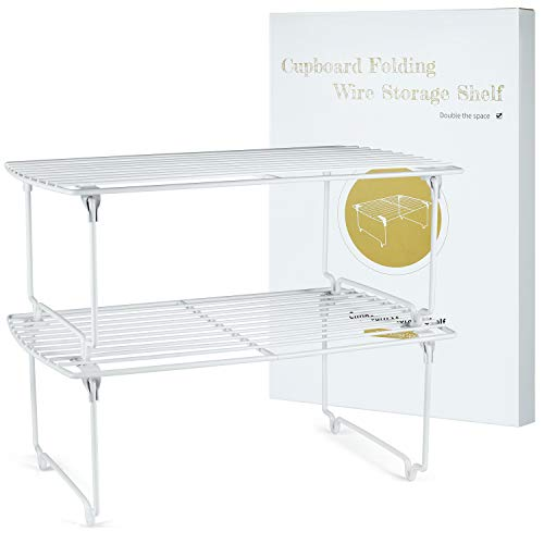 TJ.MOREE Stapelbarer Küchenschrank-Organizer, Schrankaufbewahrung, Gewürzregal, Speisekammer, Kühlschrank, platzsparendes Set von 2 (weiß)