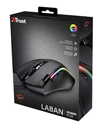 Trust Laban GXT 188 RGB LED Pro Laser Gaming Maus (15000 DPI Optical Sensor, 8-programmierbare Tasten, anpassbare LED-Beleuchtung, On-Board Speicher)