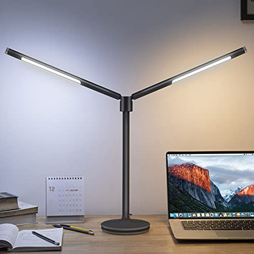 Lámpara de escritorio LED, doble brazo oscilante, lámpara de piano, doble cabeza se puede ajustar a voluntad brillo ajustable temperatura de color, para hogar/lectura/oficinas/dormitorios/dormitorios
