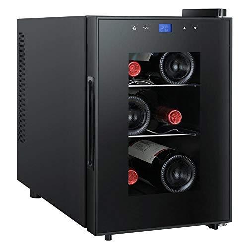 Bakaji Cantina Refrigerante Bottiglie di Vino Cantinetta Frigo Elettrica Digitale con 6 Porta Bottiglie 18 Lt Potenza 60 W Doppia Temperatura Regolabile