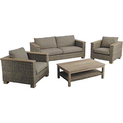 PEGANE Ensemble de 2 fauteuils + canapé en poelet Gris/manguier et Table