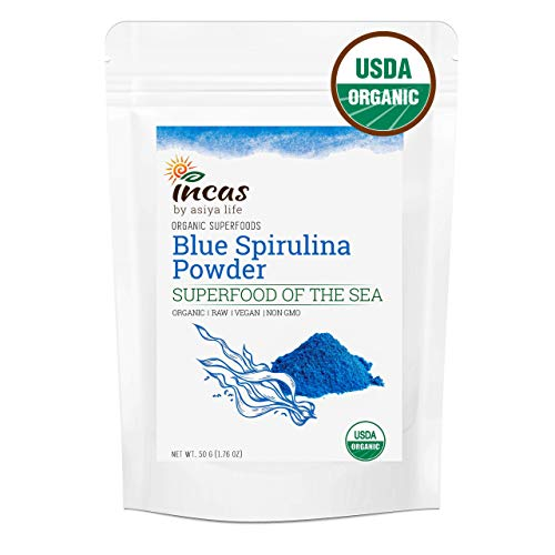 Incas USDA Organic Certified Blue Spirulina Powder 50g (1.77oz) | 1.4x More Intense Blue Color, Best Value | Neutral Taste | All Natural Blue Food Coloring | Blue Algae Powder Organic Superfood