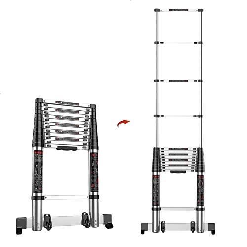 WWY 2.3M / 7.5ft Aluminium Teleskopleiter, Teleskop Verlängerungs Loftleiter für Innen oder Außen, Aluminium Faltbare gerade Teleskopleitern für Heimwerker, 7 Stufen, maximale Belastung 300 kg