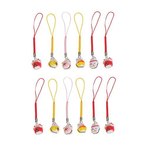 Hemobllo 12 Stück Katze Schlüsselanhänger Glück Glück Katze Lanyard Fengshui Glück Glück Kätzchen Tasche Charme für Rucksack Geldbörse Schlüssel (Zufällige Farbe)
