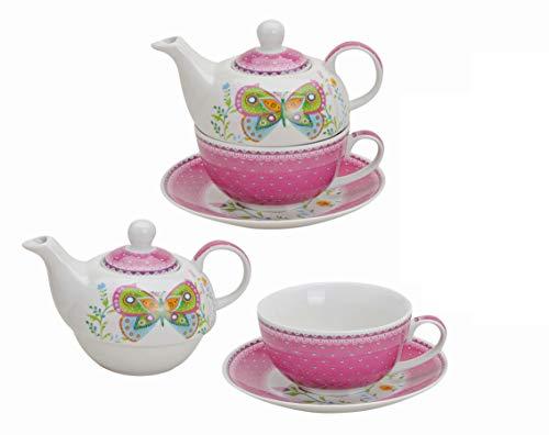 Wurm Teekannen-Set mit Schmetterlingen aus Porzellan - rosa