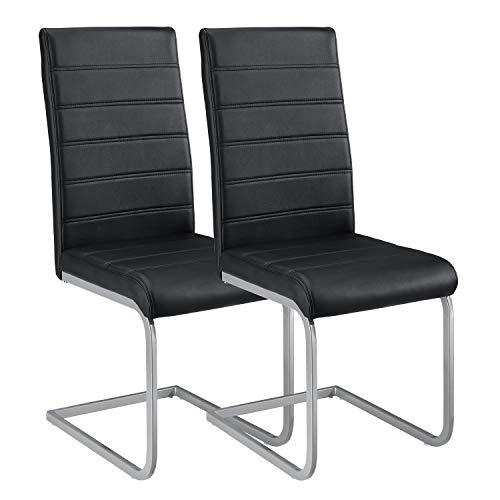 ArtLife Freischwinger Stuhl Vegas 2er Set | Kunstleder Bezug + Metall Gestell | 120 kg belastbar | schwarz | Esszimmerstühle Schwingstühle