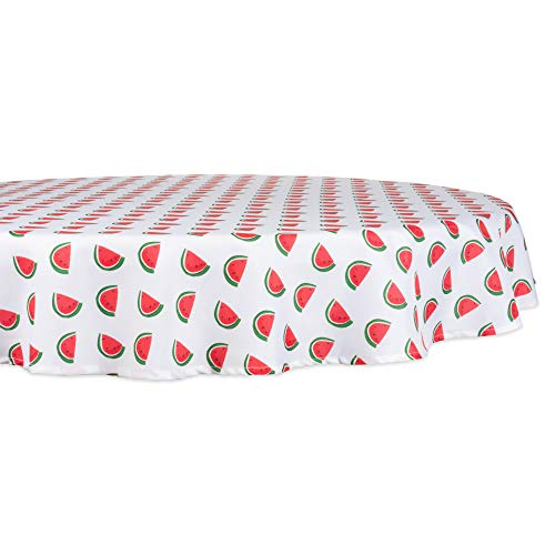 """DII CAMZ11297 Spring & Summer Tablecloth, Spill Proof and Waterproof for Outdoor or Indoor Use, Host Backyard Parties, BBQs, Family Gatherings - (Seats 2 to 4), 60"""" Round, Watermelon"""
