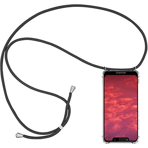 CLM-Tech Handykette kompatibel mit Motorola Moto G7 Play - Hülle mit Kordel zum Umhängen - Silikon Schutzhülle transparent mit Band Schnur, grau
