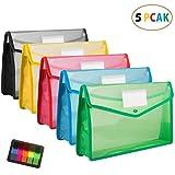 ファイルケース,Pranski ボタン式 5個セット 5色 A4ファイル袋 大容量 プラスチック透明 防水 オシャレ 可愛い カラフル 資料 書類 整理収納 (黒青赤黄緑)