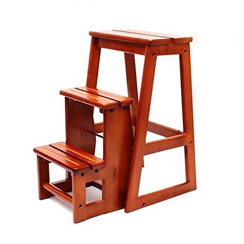 WLD Taburete escalonado, madera maciza, color miel y nogal, taburete alto plegable, silla de cocina para el hogar Escalera Escalera de tres escalones de doble uso Ascend Banco portátil Silla multifun