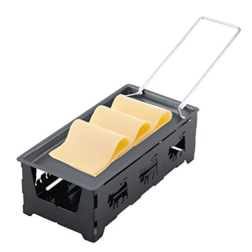 GLOGLOW Mini Raclette Set, Raclette à Fromage Antiadhésive Portable Rotaster Plateau De Cuisson Compact Stove Set Cuisine Maison Outil De Grillage