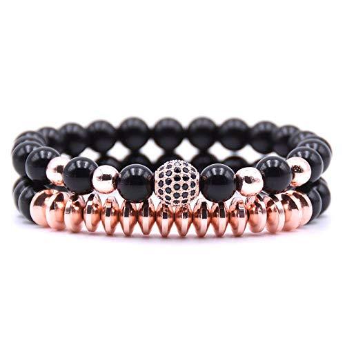 Armband sieraden Mat Zwart 8Mm Natuursteen Armbanden Mannen Armbanden Zirconia Bal Hematiet Kraal Yoga Armband Set Herenmode Strand Sieraden