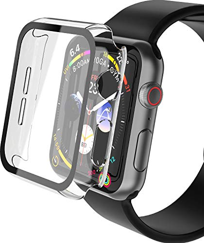 YoLin 2-Stück Mit Panzerglas Ultradünne Displayschutz Kompatibel mit Apple Watch Series 6/ SE/Series 5 / Series 4, PC All-Around Schutzhülle für iWatch 40mm (2 Transparent)
